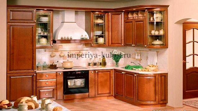 Фото кухни из Массива Дуба. Модель- Татьяна 2. Цвет-56 Светлый